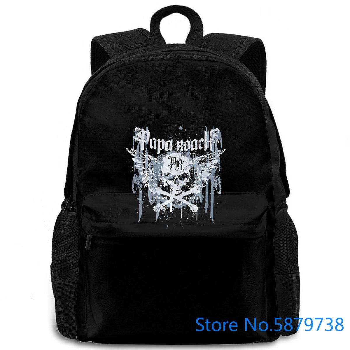 Papa Roach Crossbones Drips banda Logo oficial para hombre negro Hip Hop impresión mujeres hombres mochila laptop viaje escuela adulto