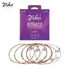 Cuerdas de guitarra acústica Extra ligeras ZIKO DP-010, aleación hexagonal, alambre de fósforo, bronce, resistente a la corrosión, juego de 6 cuerdas