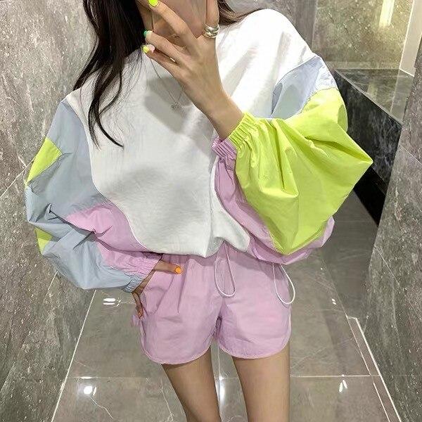 Korean 2 Shorts Set Patchwork Color Batwing Sleeve Long Sleeve Shirt Top+ Casual Short Hotpants 2 Piece Set Women Set