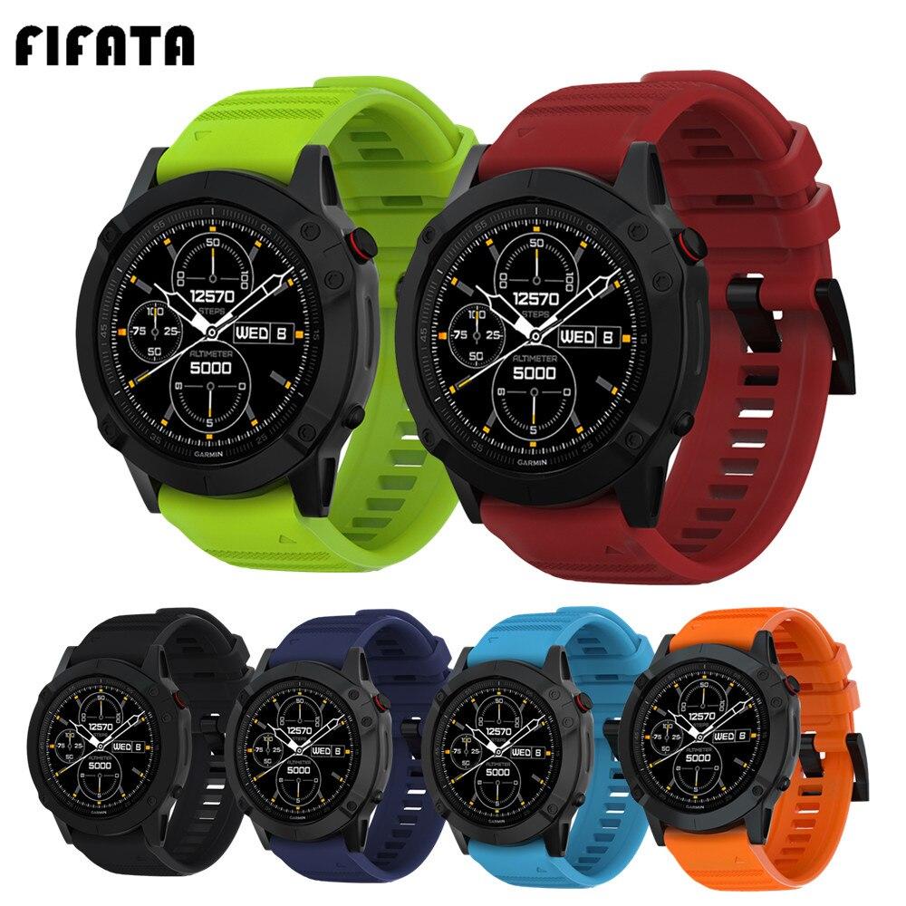 Fifata pulseira de relógio inteligente silicone pulseira de pulso para garmin fenix 6x 6s 5S 5 5x 3 3hr 26mm 22mm 20mm esportes acessórios