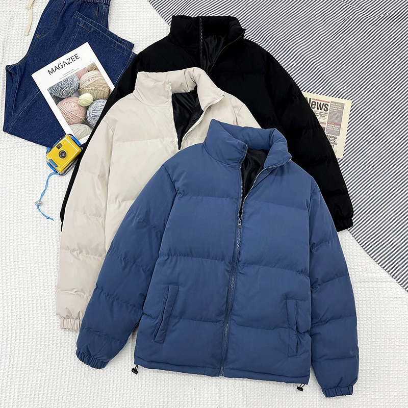 Men Thicken Warm Jackets Streetwear Hip Hop All-match Stand Collar Thick Parka 2021 Brand Fashion Ca