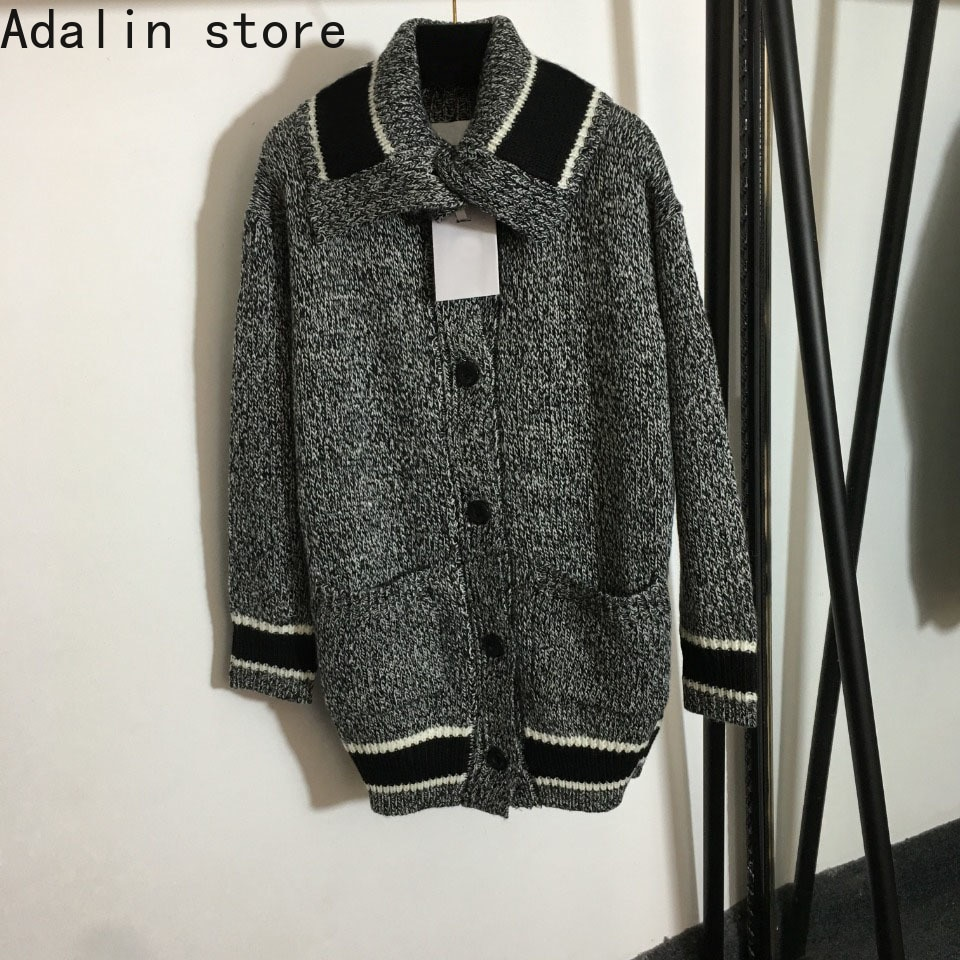 2021 high quality autumn and winter new fashion women's letter Lapel sweater coat single breasted knitted cardigan sweater enlarge