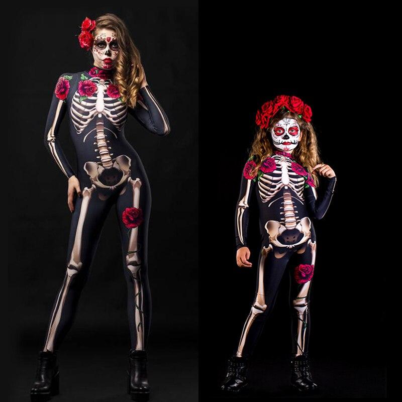 Día de los niños de las muchachas de los muertos esqueleto Rosa Sexy mujeres ropa de Halloween diablo mono de fantasma actuación de fiesta disfraz Cosplay