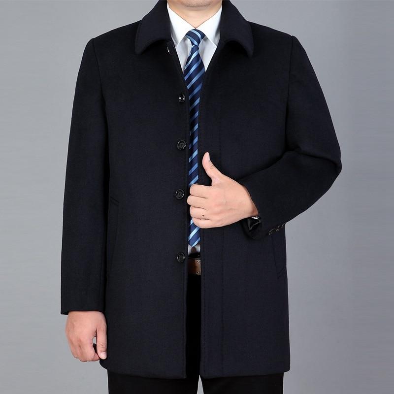 جديد لعام 2021 معطف صوفي للرجال متوسط الطول وسميك متوسط العمر ومعطف صوفي واقي من الرياح للرجال