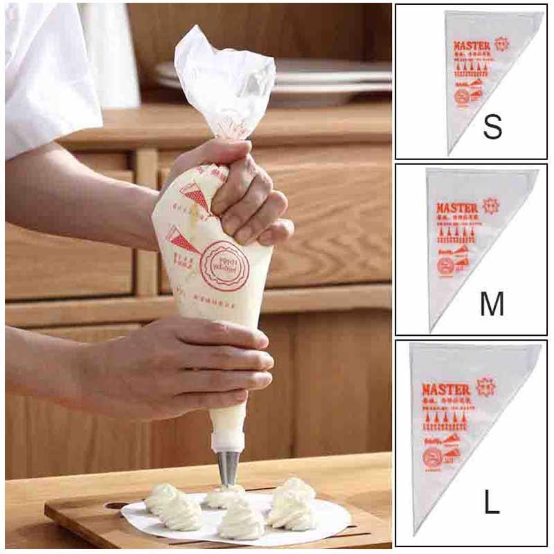 100 unids/pack de alta calidad desechables transparentes crema pastelería pastel glaseado de bolsa decorativa grande/mediano/pequeño