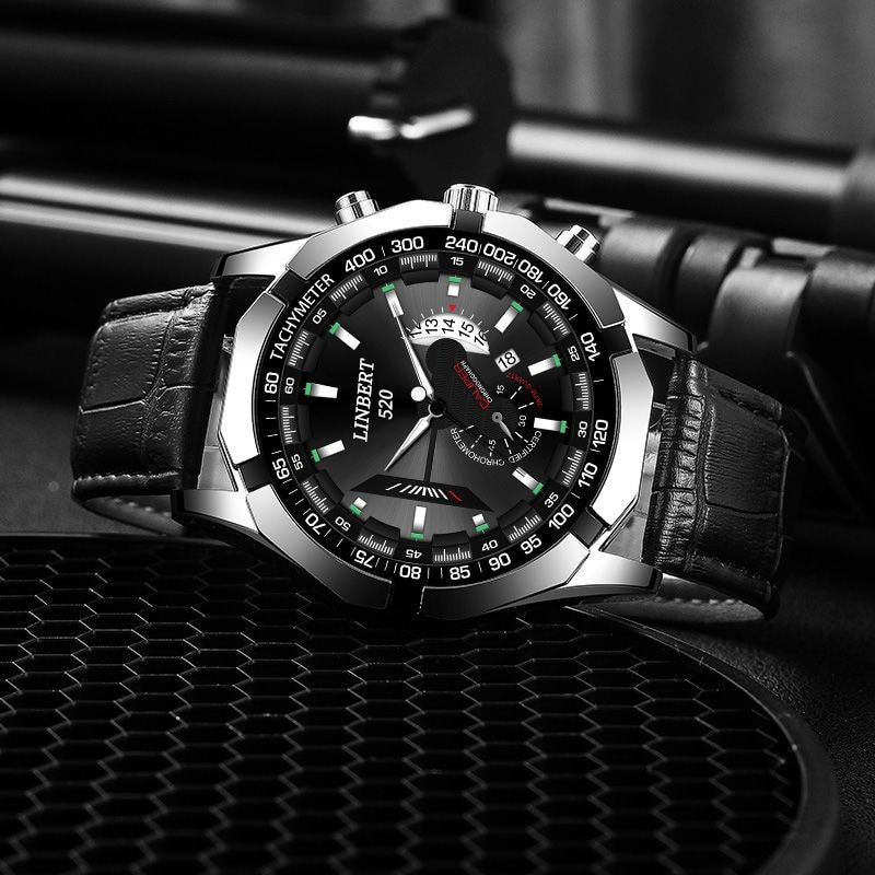 LINBERT 2021 Men Watch Non-Automatic Mechanical Watch Men's Belt Luminous Clock Quartz Fashion Busin