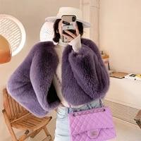 fashion short fox fur jackets for women 2021 trendy full pelt natural fox fur coats woman outwear luxury purple fur overcoats