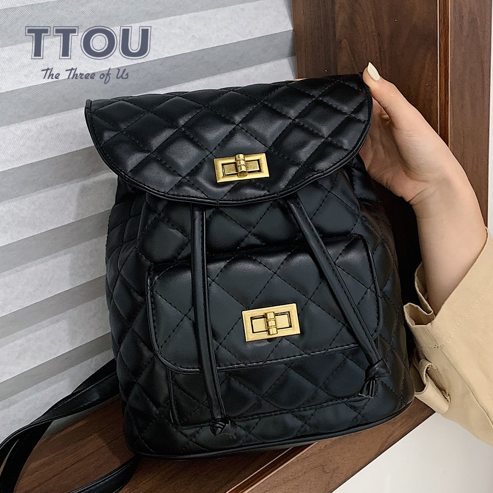 TTOU Fashion Plaid Women Backpack Chain Black Red Lady Leisure Travel Backpack School Book Bag For Teenage Girls Shoulder Bag