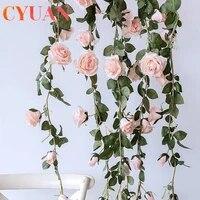 CYUAN     guirlande de roses artificielles en soie  2m  fausses fleurs  pour un decor de mariage  pour la maison