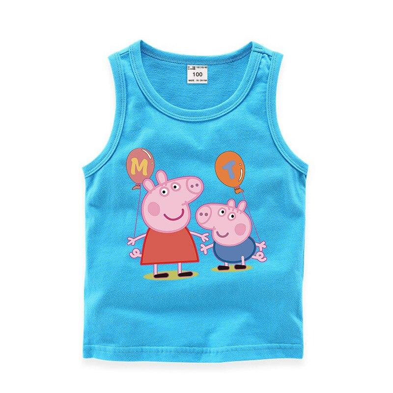 AliExpress - Peppa Pig Family Set Summer Tank Tops Clothes T-shirt for Girls George Pig Cartoon Printed Vest Kawaii Kids Sleeveless Crop Top