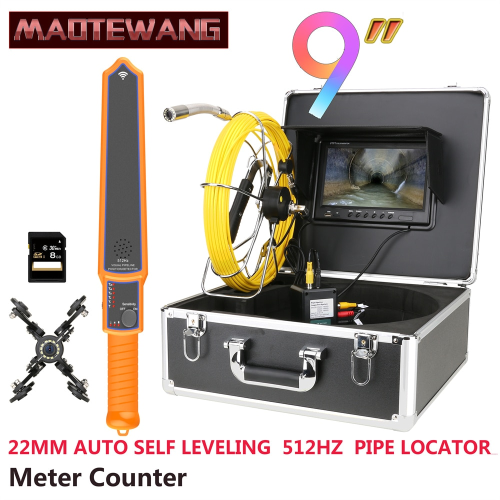 Get 9″ Monitor DVR Meter Counter 22MM IP68 HD 1000TVL Sewer Pipe Inspection Video Camera with Auto Self Leveling 512HZ Pipe Locator