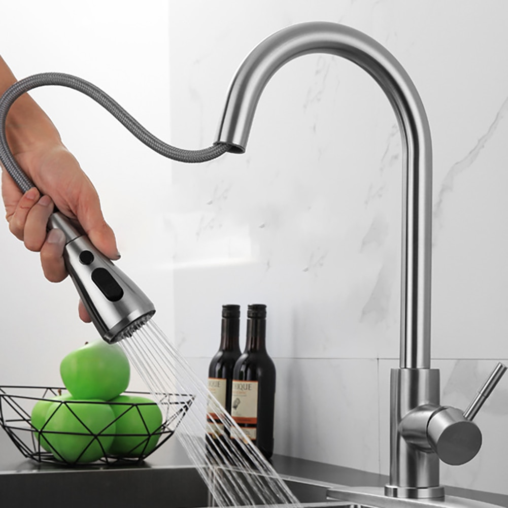 Brushed Nickel Kitchen Faucet Single Hole Pull Out Spout Kitchen Sink Mixer Tap Stream Sprayer Head Chrome Kitchen Tap Sink flg spring kitchen faucet swivel side sprayer dual spout kitchen mixer tap brushed nickel kitchen sink faucet 360 rotation