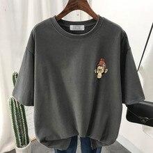 Camiseta Cool Street para mujer, camiseta de algodón holgada de estilo BF gruesa, camiseta Casual con gráfico para mujer, camiseta para hombre, camiseta de manga corta