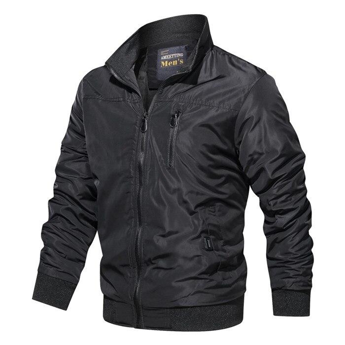 Куртка-бомбер мужская с воротником-стойкой, в стиле милитари