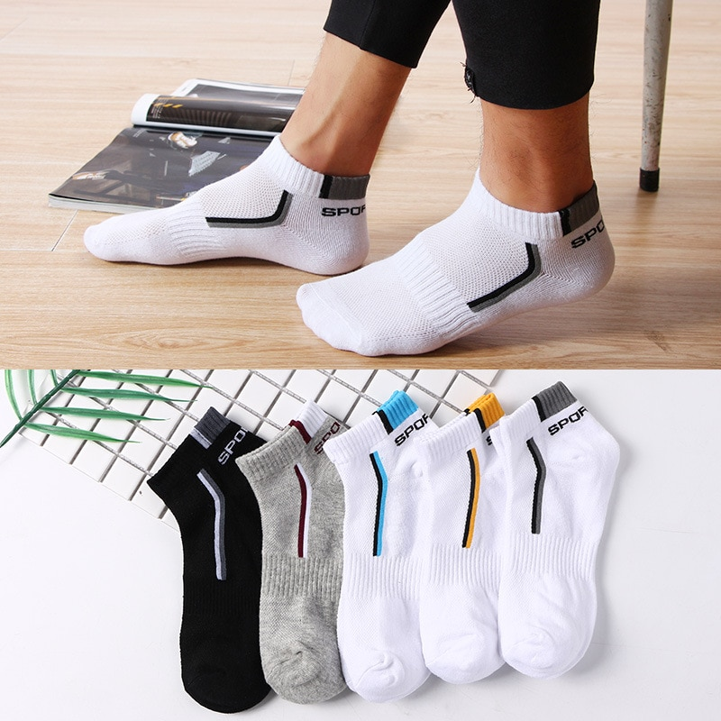 10 Pieces=5 Pairs Men Socks Mesh Breathable Short Casual Socks Summer Cotton Sports Socks Absorb Sweat Ankle Socks Set Meias