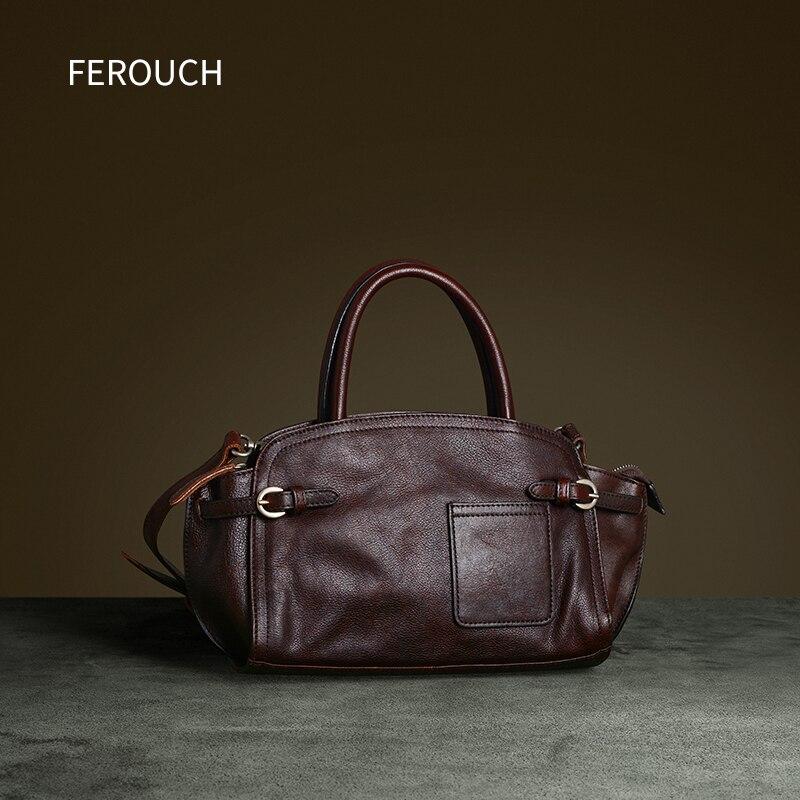 2020 حقائب يد للنساء جلد طبيعي فاخر للسيدات حقيبة يد موضة غير رسمية للمكتب حقيبة جيب بسحّاب بنية 9090