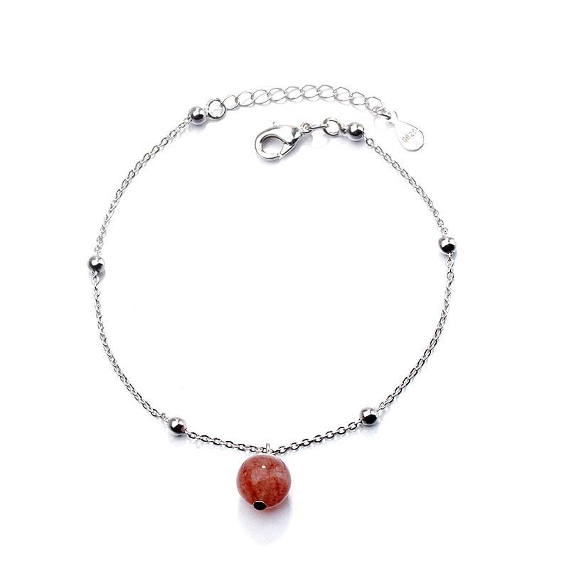 DSHI76 الفراولة كريستال سوار ضوء القمر الخرز الفول مسحوق اليدوية سوار وصلة هدية للمشتري