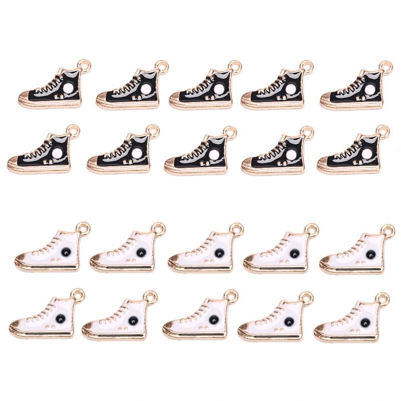 10pcs Esmalte Ginásio de Esportes Sapatos Encantos Para Pulseira, Pingentes De Metal Sneaker Dangle Jewelry Making Achados Componentes