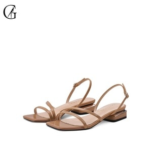 GOXEOU Women's Sandals Patent Leather Dark Nude Strappy Thin Belt Square Heels 2 CM Casual Fashion Office Lady Shoes Size 32-46
