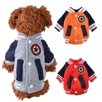 korean style dog acket autumn winter puppy coat warm sportswear dog clothes doggie baseball ersey for small cats