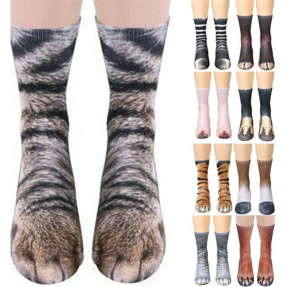 Suministros para fiestas, 1 par de calcetines con estampado de animales en 3D, calcetines largos Unisex, calcetines bonitos de algodón, perro, caballo, cebra, Tigre, gato, pata, disfraz de Cosplay