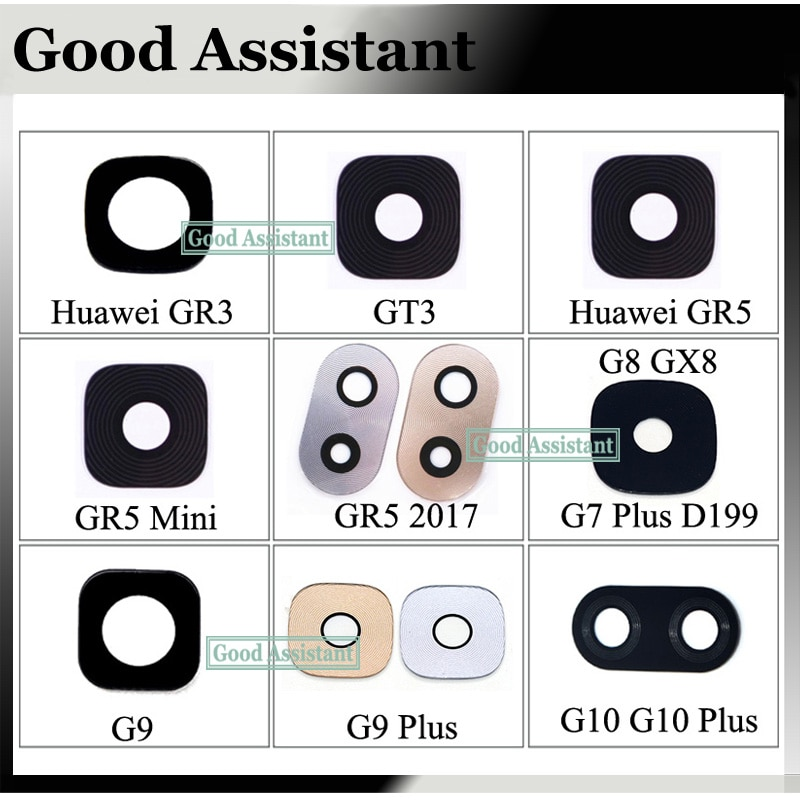 2 uds para Huawei GR3 GT3 GR5 mini GR5 2017 G8 GX8 G7 más D199 G9 G9plus G10 plus Lente de Cristal de cámara posterior cubierta Reparación de espaã a