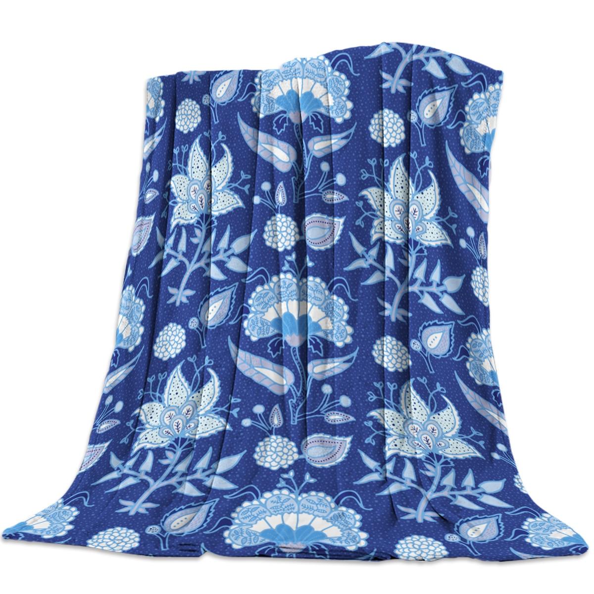 Estilo étnico Tie-Dye flor índigo impreso franela manta suave manta lavable a máquina mantas para camas
