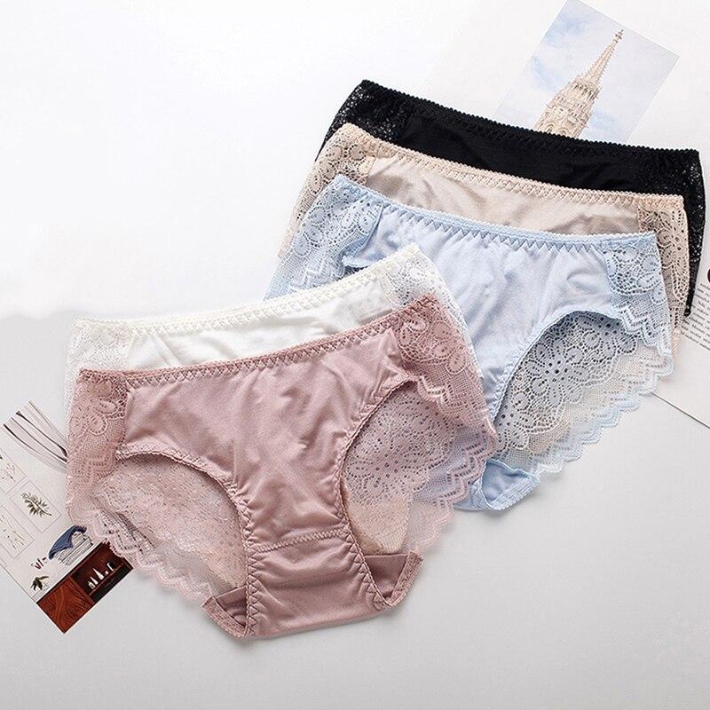 3 pçs/lote 100% natural de seda lingerie feminina transparente sem costura rendas sexy calcinha bragas mujer calcinha calcinhas briefs