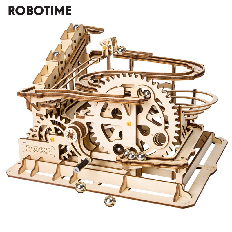 Robotime Rokr 4 Kinds Marble Run DIY Waterwheel Wooden Model Building Block Kits Assembly Toy Gift for Children  Dropship