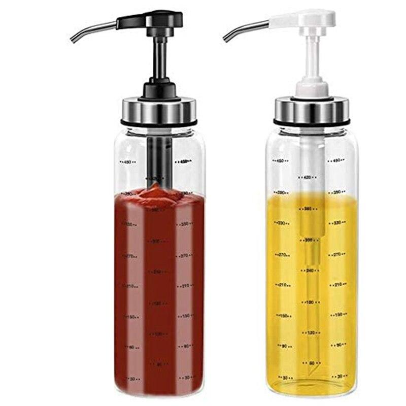 زجاجة بالكبس صلصة للمطبخ والشواء ، 2 عبوة زيت زيتون موزع زجاجات زجاجية ، للكاتشب/السلطة/خلع الملابس/العسل ، 500 مللي