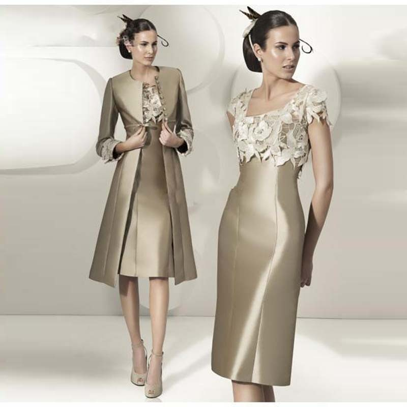 Exquisite Bronze Square Neckline Flowers Short Sleeve Mother of the Bride Dresses With Jacket Weddin