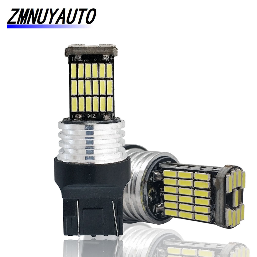 2PCS T20 7440 7443 LED Bulb W21/5W W21W Led  45SMD 4014  Car Bulb Auto Brake Light Reverse Lamp White Red Yellow