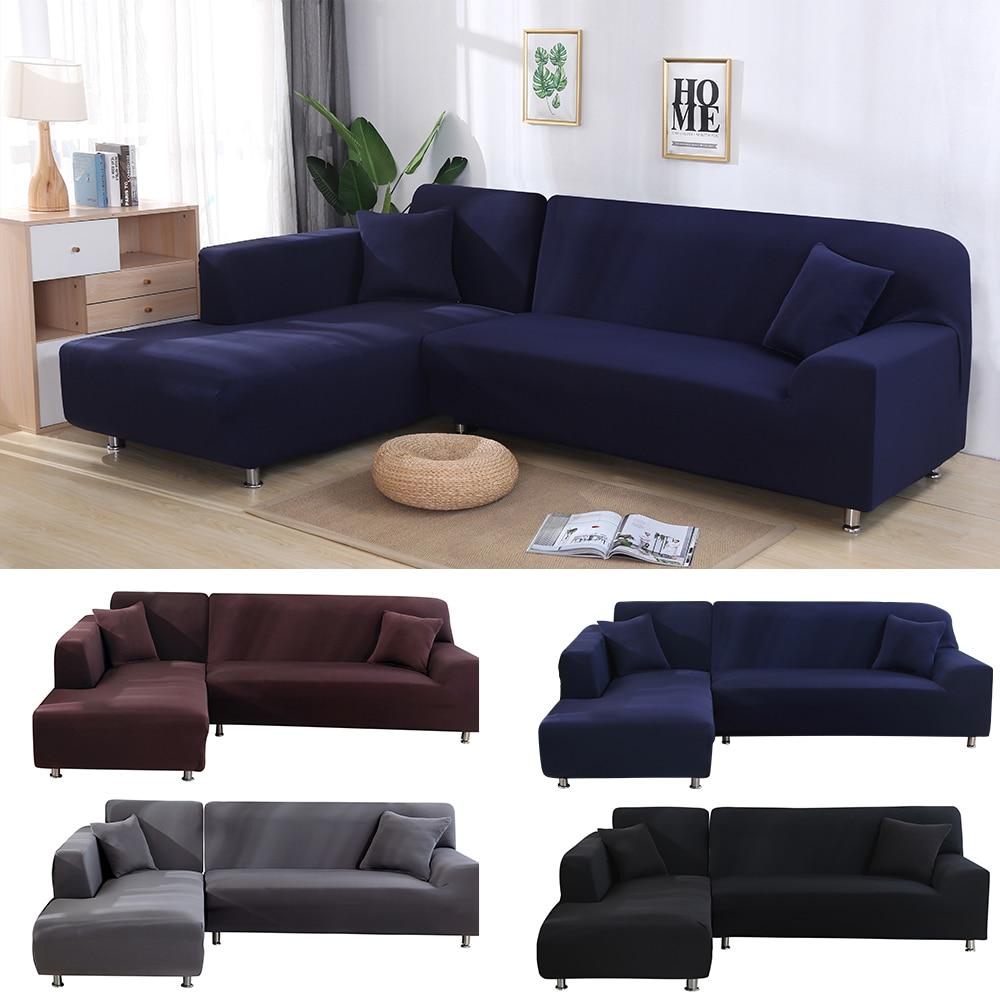 بلون مكافحة القذرة مرونة أريكة غطاء L على شكل غرفة المعيشة شيزلونج الغلاف دنة تمتد حالة ل الزاوية 2 قطعة/المجموعة