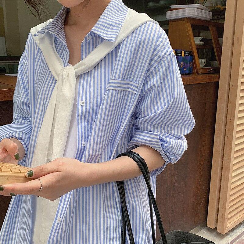 APXIVI-قميص مخطط بصدر واحد للنساء ، بلوزة كورية فضفاضة بأكمام طويلة ، شال صغير ، بدلة من قطعتين ، قمصان نسائية أنيقة