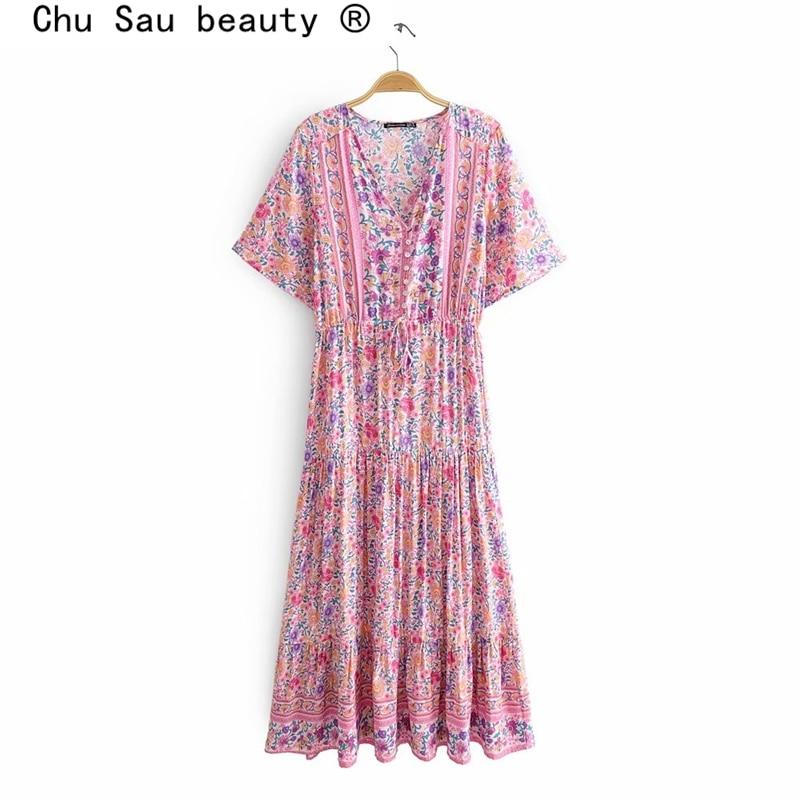 Chu Sau schönheit Neue Mode Boho Rosa Floral Print Midi Kleid Frauen Strand Chic Vintage Lange Kleider Weiblich Sommer Urlaub tragen