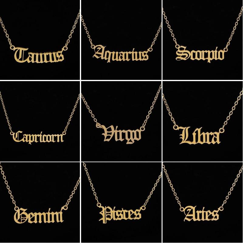 Personnaliser bijoux lion signe zodiaque collier astrologie signe etoile 12 Constellation ancienne lettre anglaise bélier colliers cadeau