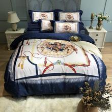 Parure de lit en velours de lîle   Qualité supérieure, parure de lit couleur satin, carte cheval, housse de couette, draps de lit, taies doreiller, reine, grande taille