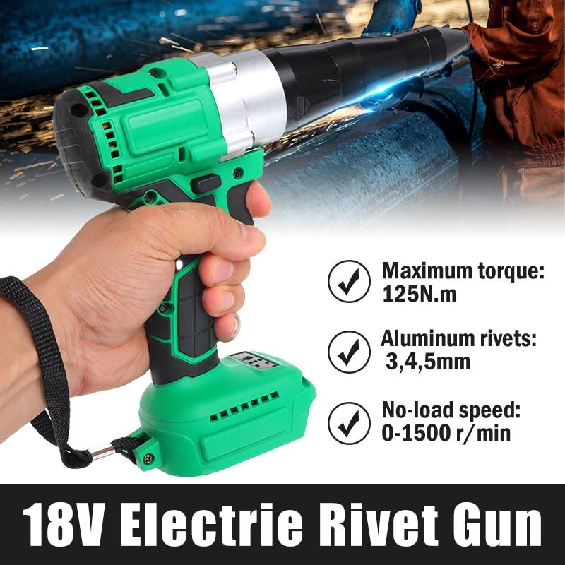 Electric Brushless Rivet Gun Cordless Rivet Nut Gun Drill Nut Pull Riveting Tool 3mm-5mm With LED Light For Makita 18V Battery