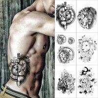clock lion knife temporary tattoo sticker for men women rose owl wolf fox waterproof fake henna tiger animal body art tatoo