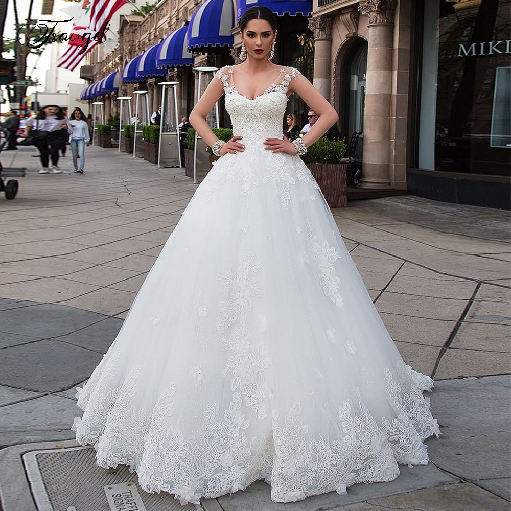 Traugel Luxus Scoop EINE Linie Spitze Brautkleider Chic Applique Perlen Sleeveess Braut Kleid Kapelle Zug Brautkleid Plus Größe