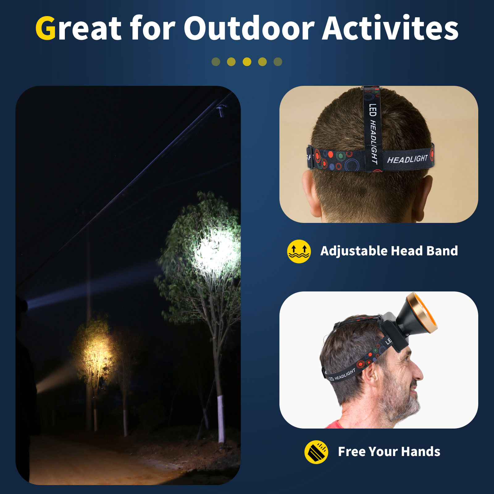 Super Bright LED Headlamp 18650 Flashlight Forehead 2 Light Modes Waterproof Headlight Built-in 3x18650 Rechargeable Batteries enlarge