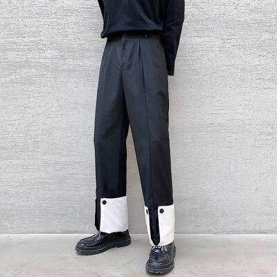 ربيع شخصية كبيرة بنطلون أبيض وأسود هيم تصميم صغير بناطيل كاجوال موضة رجالية النسخة الكورية من sens عمودي