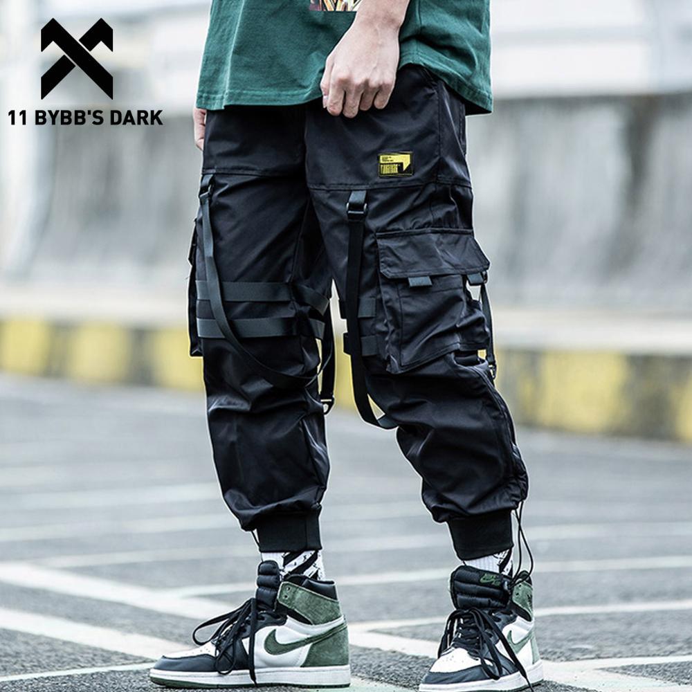 11 BYBB'S DARK-سروال حريم هيب هوب متعدد الجيوب للرجال ، بنطال رياضي بخصر مرن ، ركض ، شرائط فضفاضة غير رسمية ، بدلة رياضية