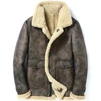 genuine leather jacket men winter jacket real sheepskin coat for men natural wool fur coats bomber jackets plus size 5xl my1772