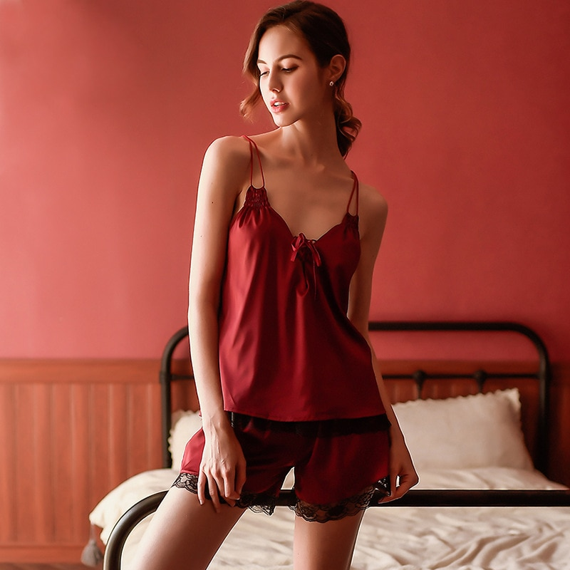 sexy pajamas for woman sleepwear  5 color short hollow temptation suit deep V sling backless silky home service two-piece sloth