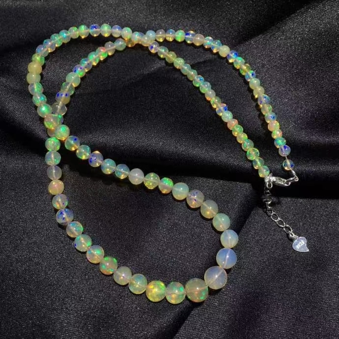 Natural Colorful Opal Crystal Clear Round Beads Necklace 3.2x6.9mm Healring Women Opal Pendant Jewelry AAAAAA