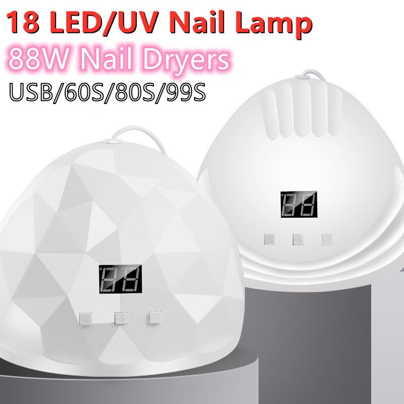 XZMUV Custome Patent 88 Watt Mini Portable 18 Led Gel Nail Led UV Light Dryer Usb Lamp Art Machine a