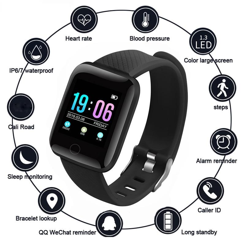 Монитор пульса артериального давления 116 Plus Смарт-часы IP67 водонепроницаемые напоминания о звонках мужские фитнес-трекер Шагомер