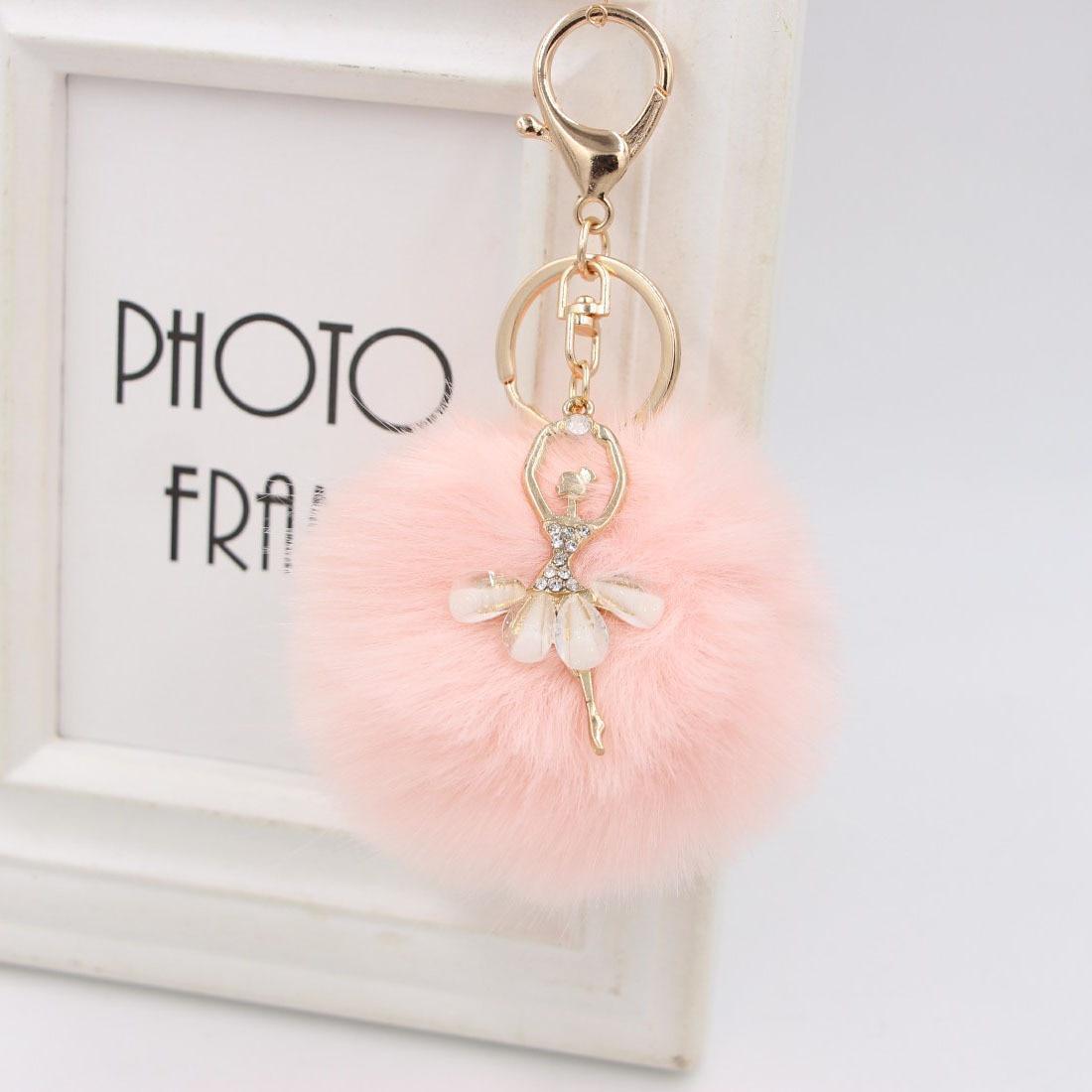 LLavero de niña de Ballet de cristal con pompón de Ángel de felpa esponjosa llaveros de colgantes bolso de coche joyería regalos de cumpleaños Día de San Valentín