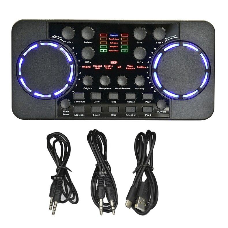 بطاقة صوت V300 PRO ، بلوتوث ، 10 تأثيرات صوتية ، تقليل الضوضاء ، سماعة رأس ، ميكروفون ، تحكم صوتي للهاتف والكمبيوتر الشخصي